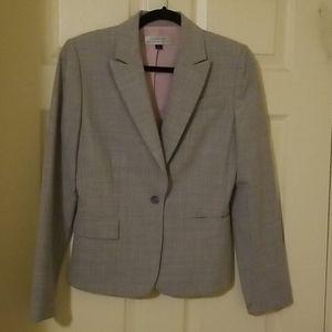 Tahari gray+pink pinstriped blazer